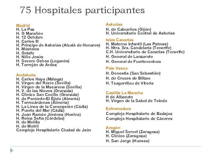 75 Hospitales participantes Madrid H. La Paz H. G Marañón H. 12 Octubre H.