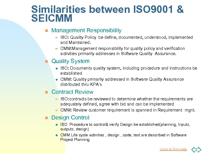 Similarities between ISO 9001 & SEICMM n Management Responsibility F F n Quality System