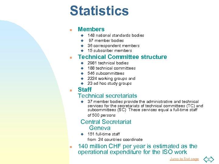 Statistics n Members u u n Technical Committee structure u u u n 148
