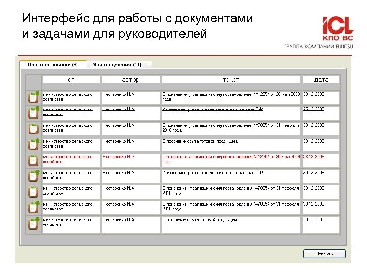 Интерфейс для работы с документами и задачами для руководителей © ICL-КПО ВС 2010