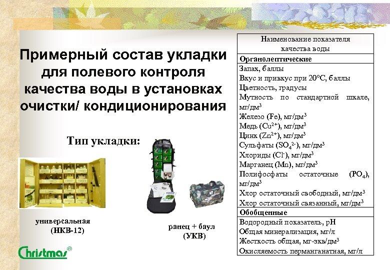 Примерный состав укладки для полевого контроля качества воды в установках очистки/ кондиционирования Тип укладки:
