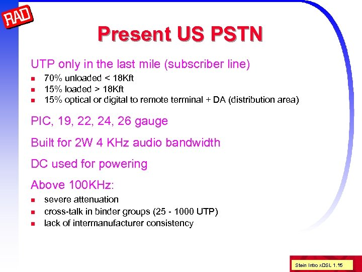 Present US PSTN UTP only in the last mile (subscriber line) n n n