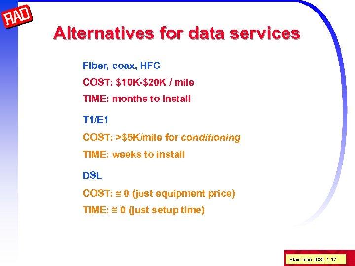 Alternatives for data services Fiber, coax, HFC COST: $10 K-$20 K / mile TIME: