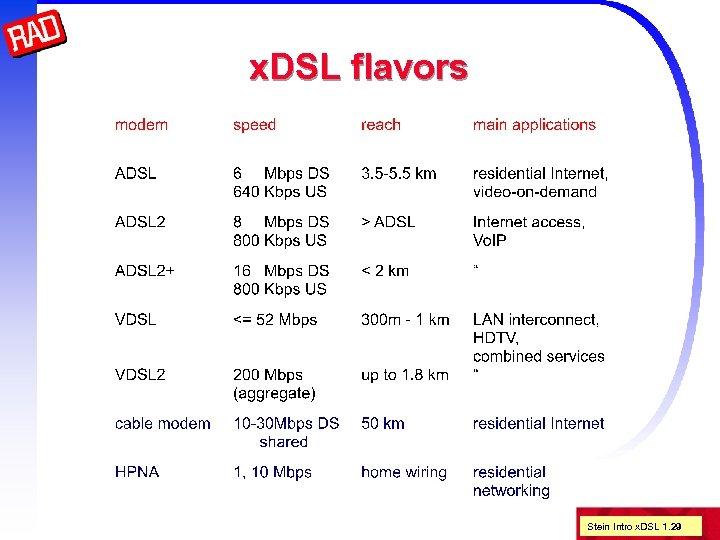 x. DSL flavors Stein Intro x. DSL 1. 29