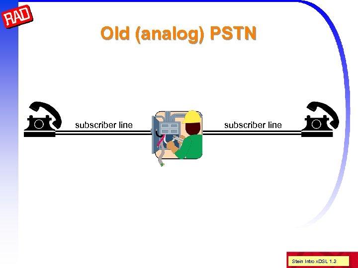 Old (analog) PSTN subscriber line Stein Intro x. DSL 1. 3