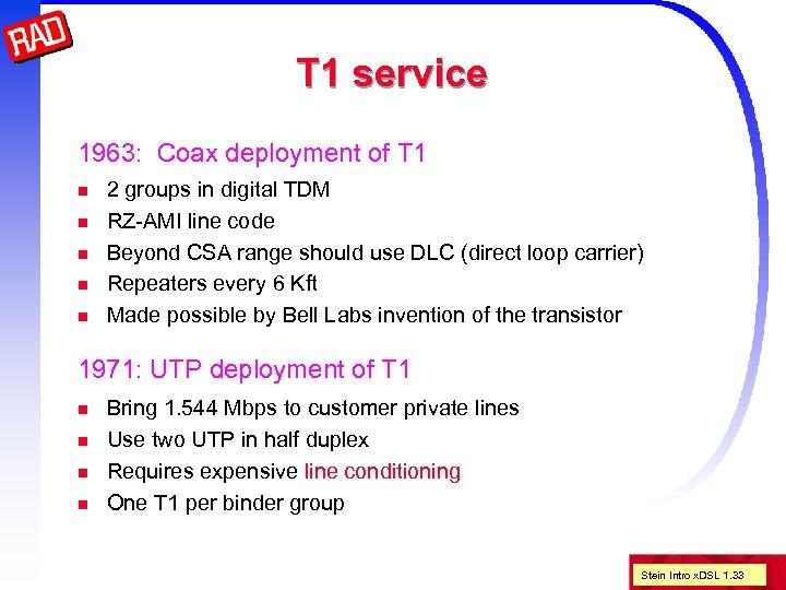 T 1 service 1963: Coax deployment of T 1 n n n 2 groups