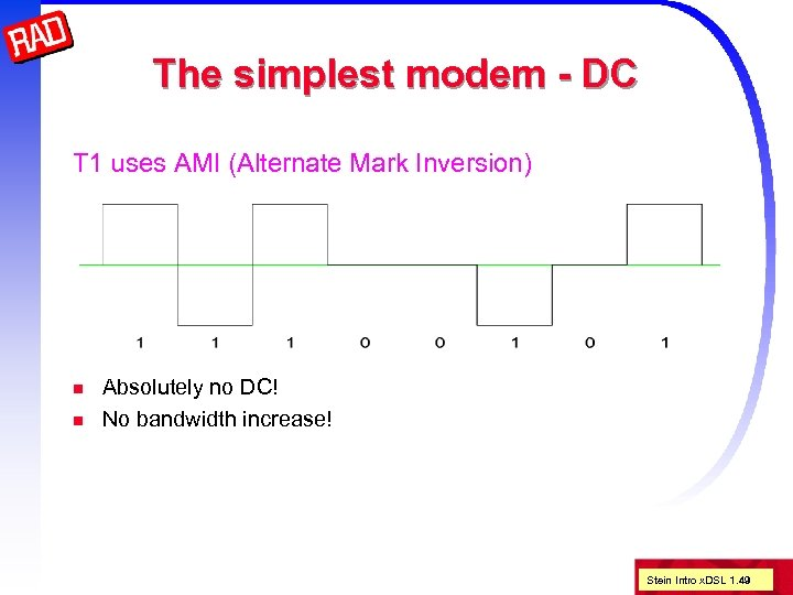 The simplest modem - DC T 1 uses AMI (Alternate Mark Inversion) n n