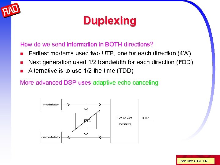 Duplexing How do we send information in BOTH directions? n Earliest modems used two