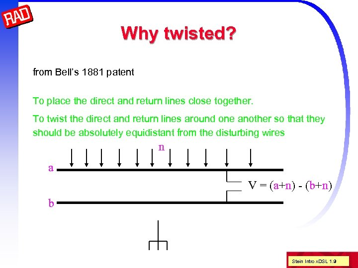 Why twisted? from Bell's 1881 patent To place the direct and return lines close