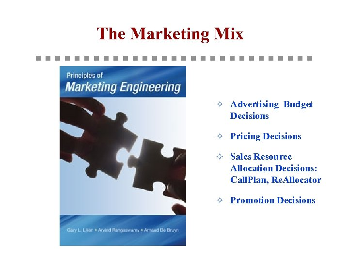 The Marketing Mix ² Advertising Budget Decisions ² Pricing Decisions ² Sales Resource Allocation