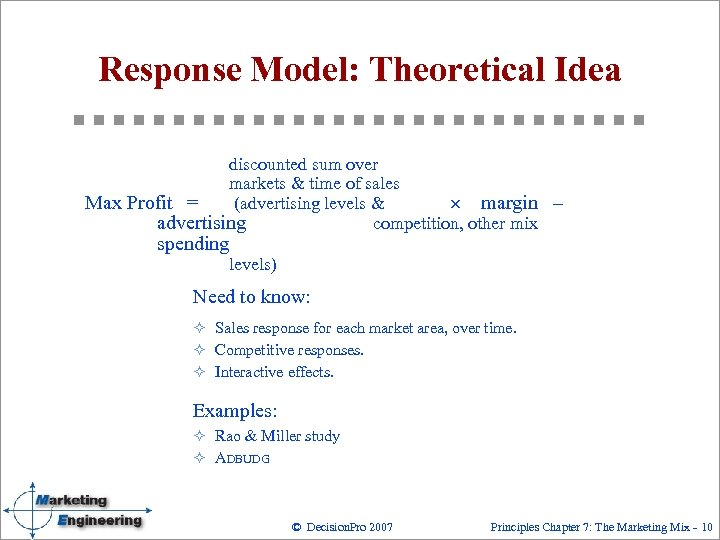 Response Model: Theoretical Idea discounted sum over markets & time of sales Max Profit