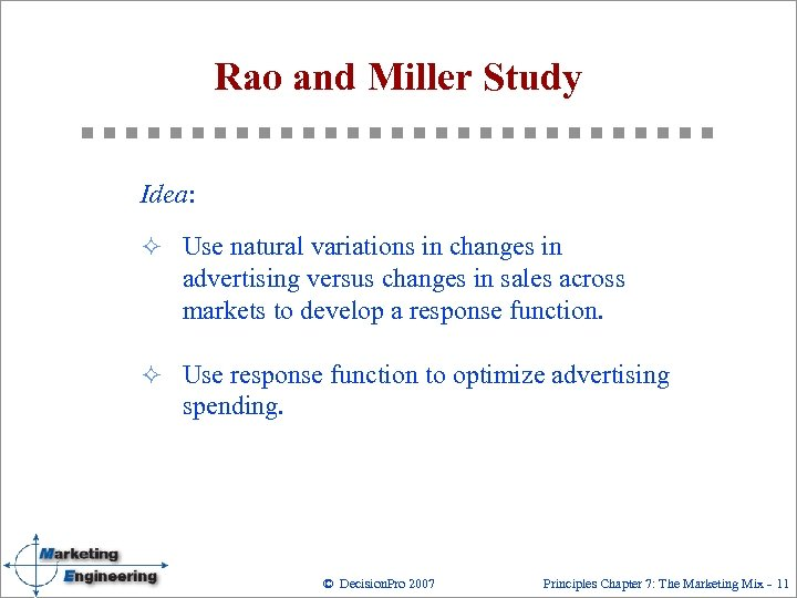 Rao and Miller Study Idea: ² Use natural variations in changes in advertising versus