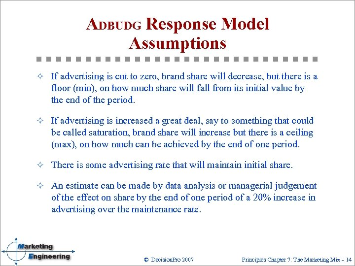 ADBUDG Response Model Assumptions ² If advertising is cut to zero, brand share will