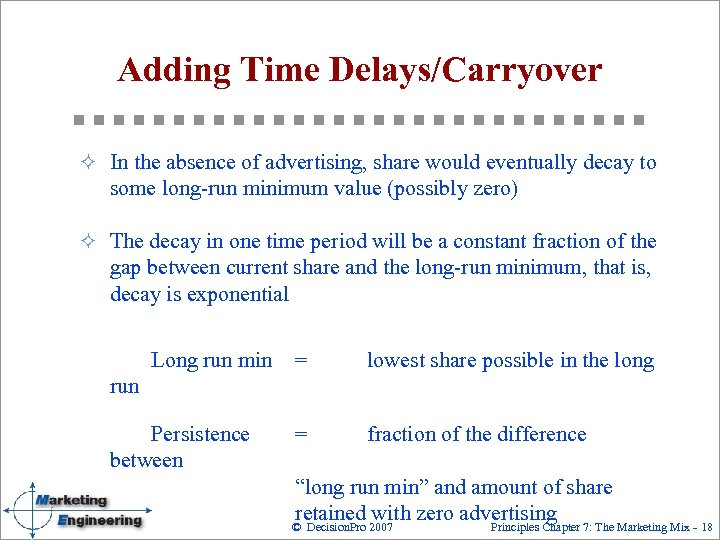 Adding Time Delays/Carryover ² In the absence of advertising, share would eventually decay to