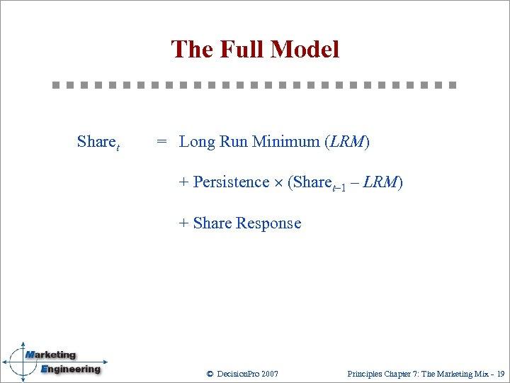 The Full Model Sharet = Long Run Minimum (LRM) + Persistence ´ (Sharet– 1