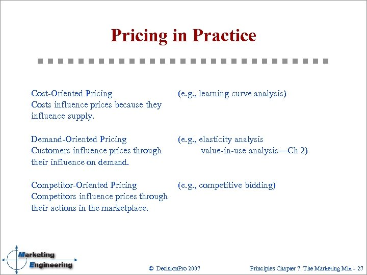 Pricing in Practice Cost Oriented Pricing Costs influence prices because they influence supply. (e.