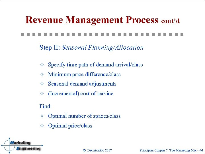 Revenue Management Process cont'd Step II: Seasonal Planning/Allocation ² Specify time path of demand