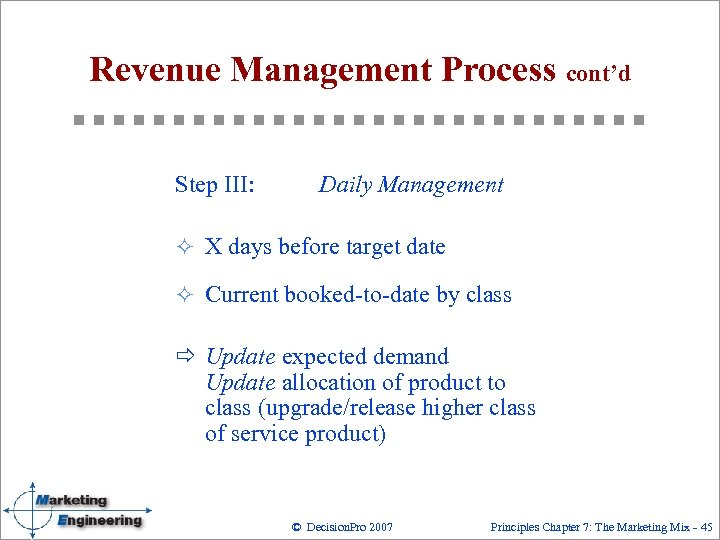 Revenue Management Process cont'd Step III: Daily Management ² X days before target date