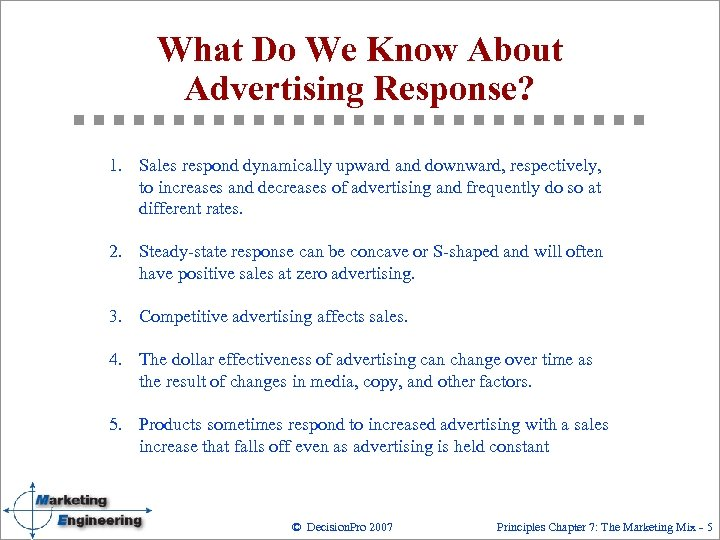What Do We Know About Advertising Response? 1. Sales respond dynamically upward and downward,