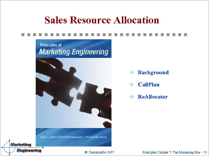 Sales Resource Allocation ² Background ² Call. Plan ² Re. Allocator © Decision. Pro