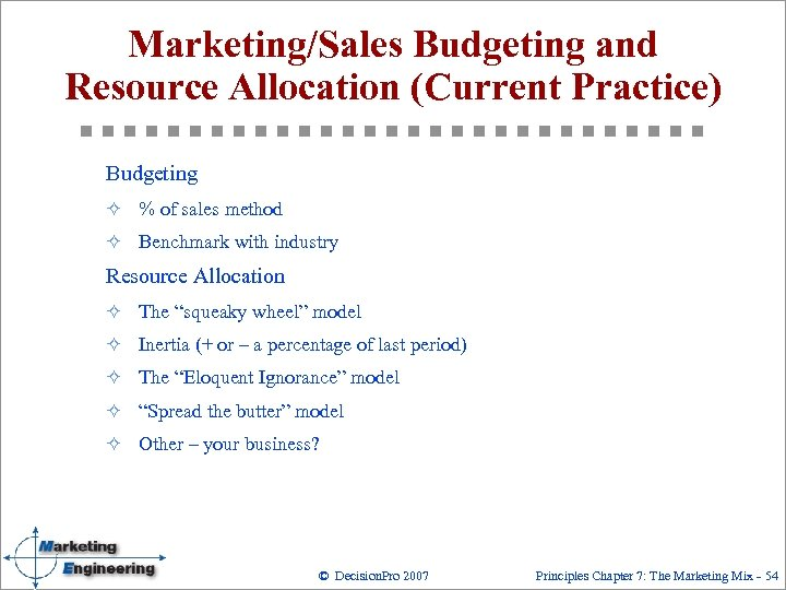 Marketing/Sales Budgeting and Resource Allocation (Current Practice) Budgeting ² % of sales method ²