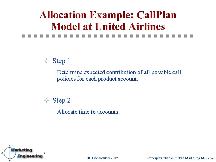 Allocation Example: Call. Plan Model at United Airlines ² Step 1 Determine expected contribution