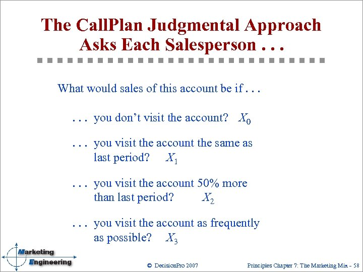 The Call. Plan Judgmental Approach Asks Each Salesperson. . . What would sales of