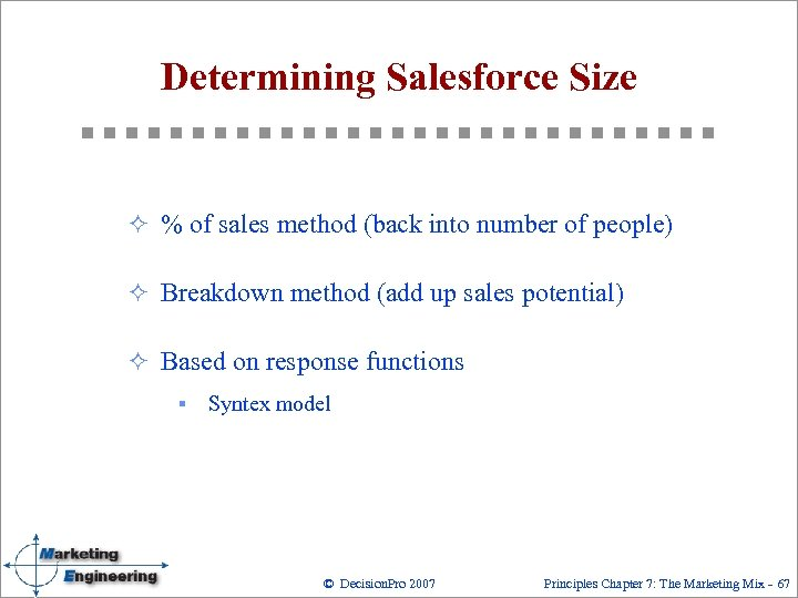 Determining Salesforce Size ² % of sales method (back into number of people) ²