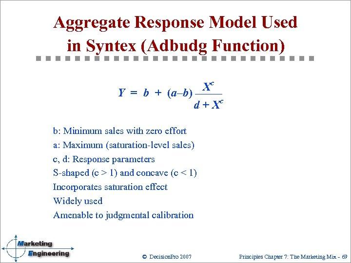 Aggregate Response Model Used in Syntex (Adbudg Function) Xc Y = b + (a–b)