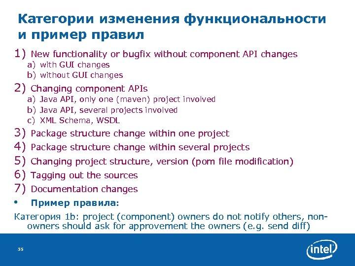 Категории изменения функциональности и пример правил 1) New functionality or bugfix without component API