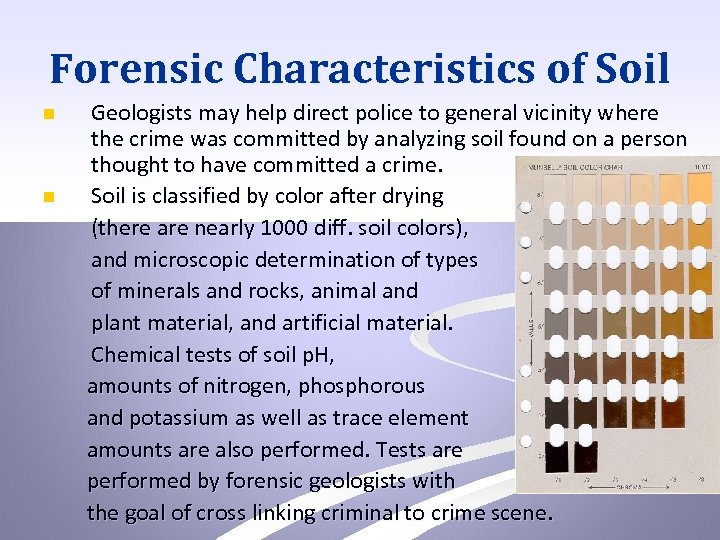 Forensic Characteristics of Soil n n Geologists may help direct police to general vicinity