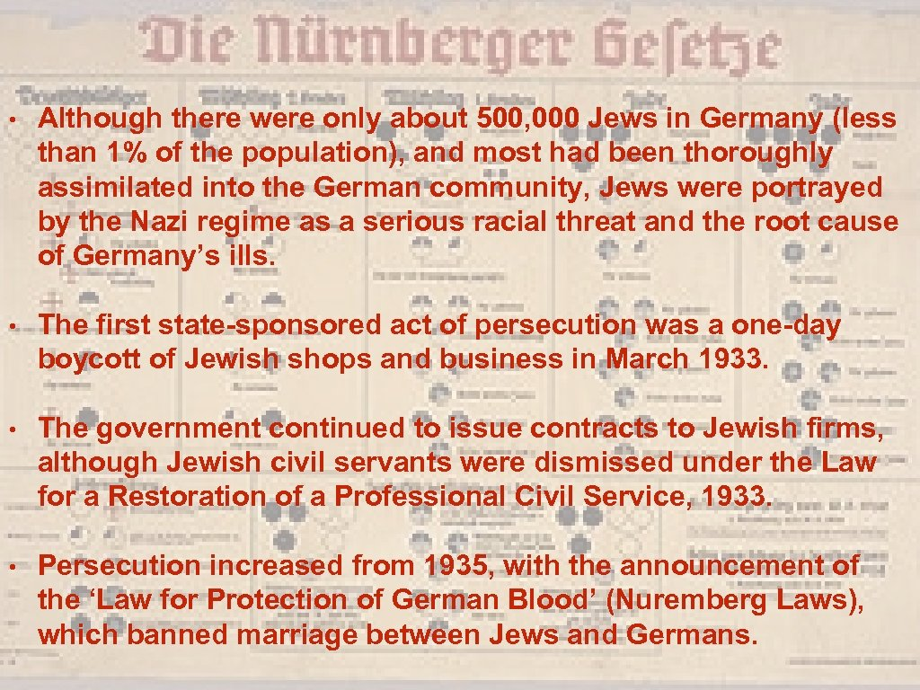 • Although there were only about 500, 000 Jews in Germany (less than