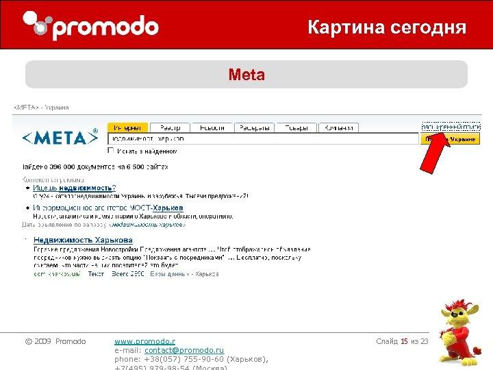 Картина сегодня Meta © 2009 Promodo www. promodo. r e-mail: contact@promodo. ru phone: +38(057)