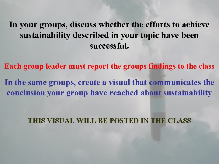 In your groups, discuss whether the efforts to achieve sustainability described in your topic