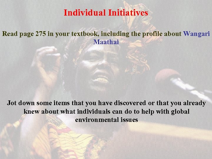 Individual Initiatives Read page 275 in your textbook, including the profile about Wangari Maathai