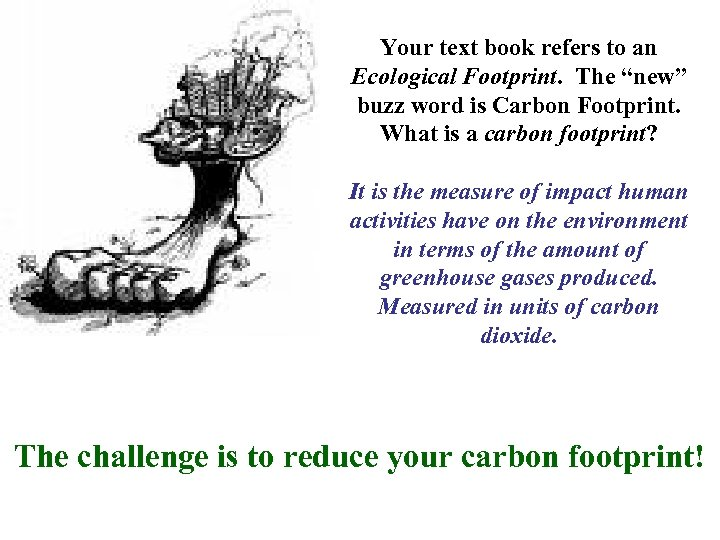 """Your text book refers to an Ecological Footprint. The """"new"""" buzz word is Carbon"""