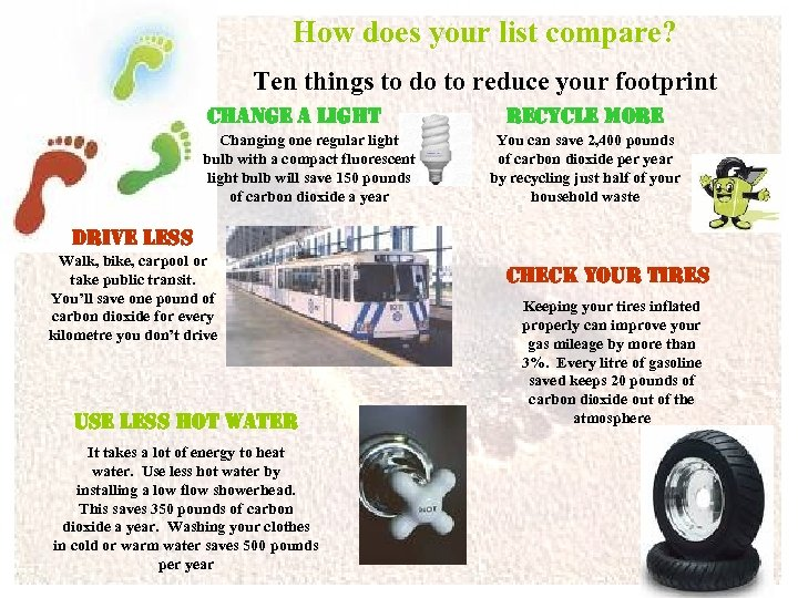 How does your list compare? Ten things to do to reduce your footprint change