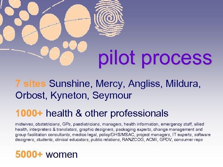 pilot process 7 sites Sunshine, Mercy, Angliss, Mildura, Orbost, Kyneton, Seymour 1000+ health &