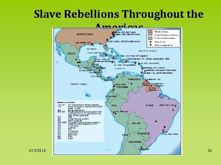 Slave Rebellions Throughout the Americas 3/15/2018 24