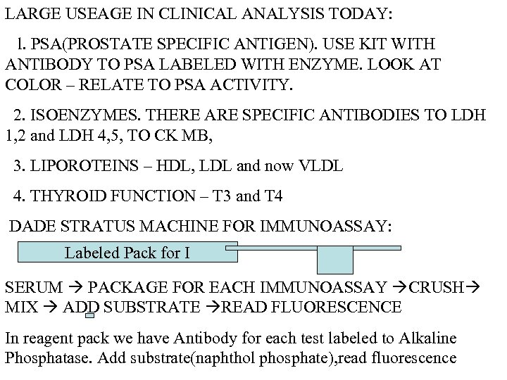 LARGE USEAGE IN CLINICAL ANALYSIS TODAY: l. PSA(PROSTATE SPECIFIC ANTIGEN). USE KIT WITH ANTIBODY