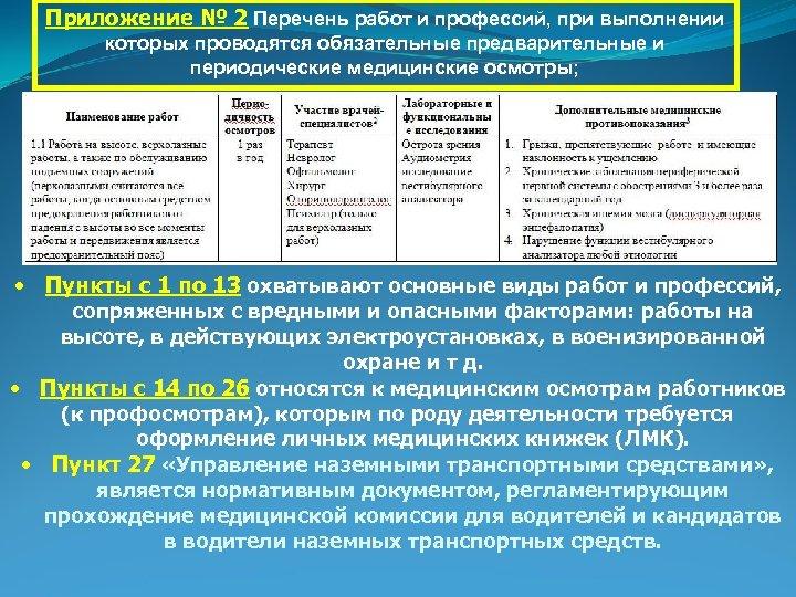 Приложение № 2 Перечень работ и профессий, при выполнении которых проводятся обязательные предварительные и