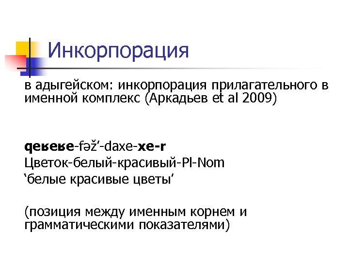 Инкорпорация в адыгейском: инкорпорация прилагательного в именной комплекс (Аркадьев et al 2009) qeʁeʁe-fəž'-daxe-xe-r Цветок-белый-красивый-Pl-Nom