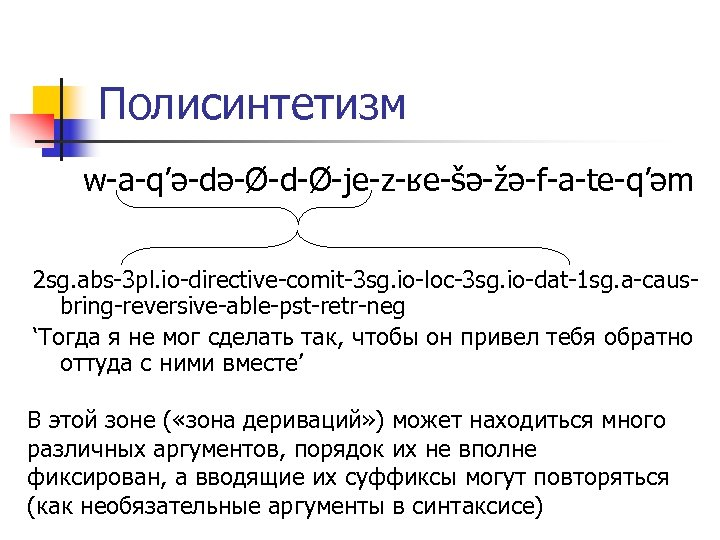 Полисинтетизм w-a-q'ə-də-Ø-d-Ø-je-z-ʁe-šə-žə-f-a-te-q'əm 2 sg. abs-3 pl. io-directive-comit-3 sg. io-loc-3 sg. io-dat-1 sg. a-causbring-reversive-able-pst-retr-neg 'Тогда