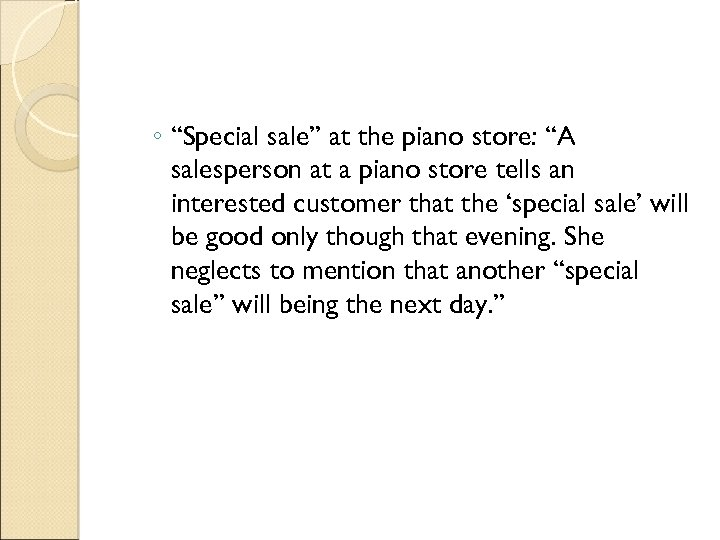 """◦ """"Special sale"""" at the piano store: """"A salesperson at a piano store tells"""