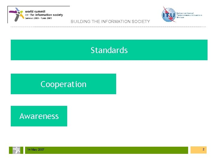 BUILDING THE INFORMATION SOCIETY Standards Cooperation Awareness 14 May 2007 2