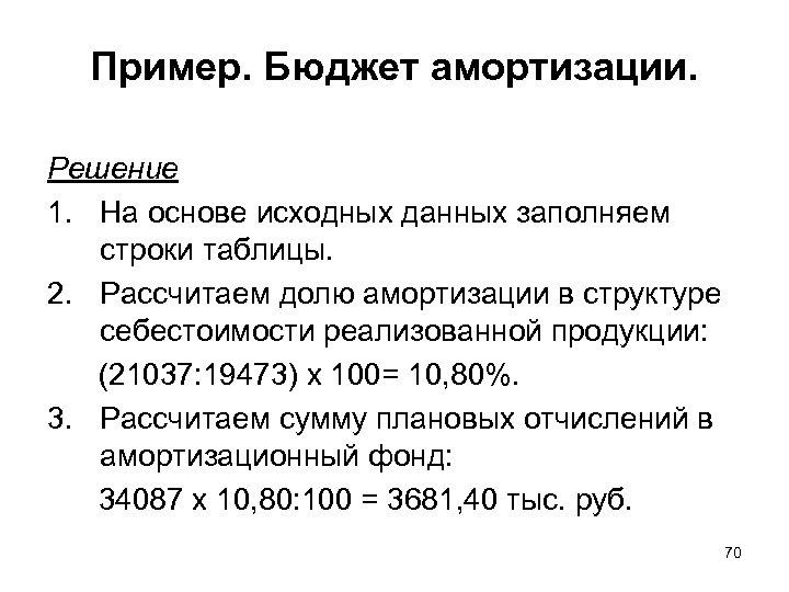 Пример. Бюджет амортизации. Решение 1. На основе исходных данных заполняем строки таблицы. 2. Рассчитаем