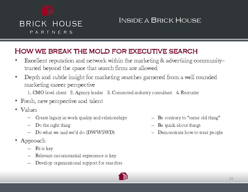 Inside a Brick House How we break the mold for executive search • •