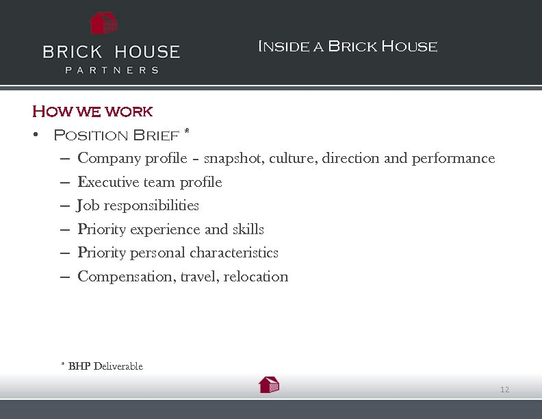 Inside a Brick House How we work • Position Brief * – Company profile