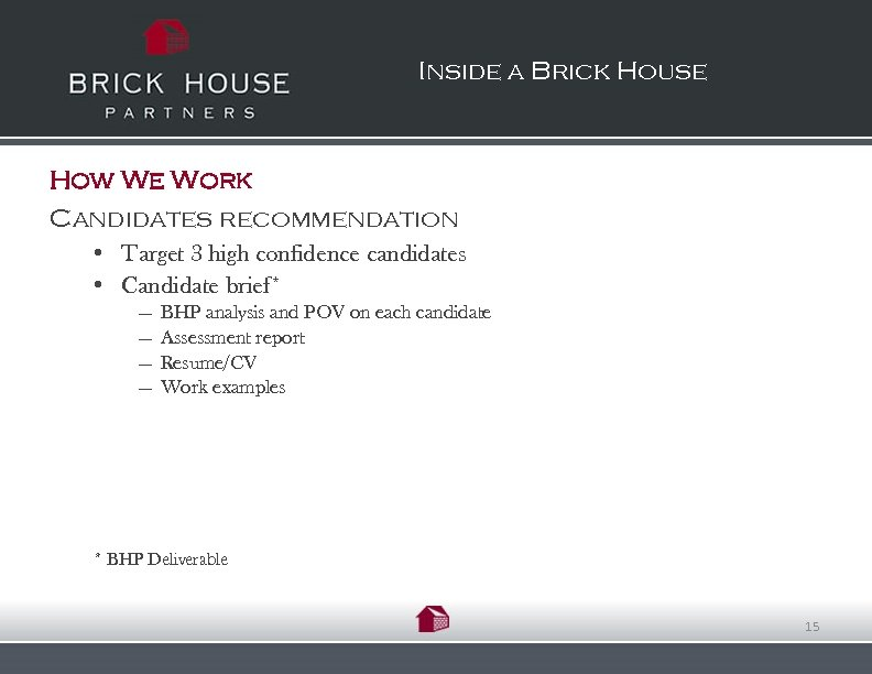 Inside a Brick House How We Work Candidates recommendation • Target 3 high confidence