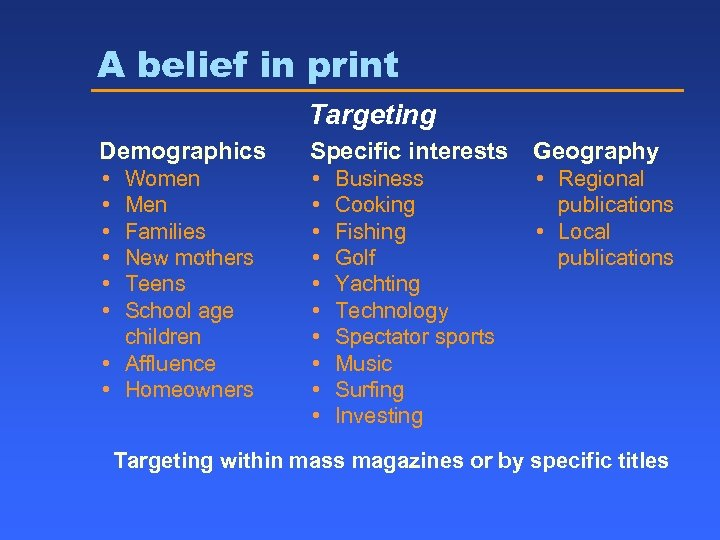 A belief in print Targeting Demographics Specific interests Geography • • • • •